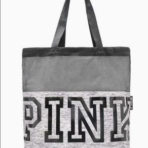 NIP  Pink gray mesh tote Bag
